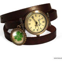 Skórzany zegarek Koniczyna - 0708. Brązowe zegarki damskie Pakamera. Za 120,00 zł.