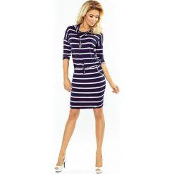 Chantal Sukienka sportowa z golfem - PASKI GRANATOWE. Niebieskie sukienki na komunię marki numoco, s, w paski, sportowe, z golfem, sportowe. Za 119,99 zł.