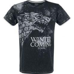 Gra o Tron Stark - Winter Is Coming T-Shirt ciemnoszary. Szare t-shirty męskie z nadrukiem Gra o Tron, xxl, z podwójnym kołnierzykiem. Za 121,90 zł.
