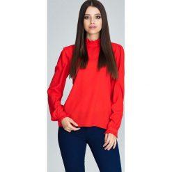Czerwona Bluzka ze Stójką z Riuszką. Czerwone bluzki longsleeves Molly.pl, l, biznesowe, z dekoltem na plecach. Za 129,90 zł.