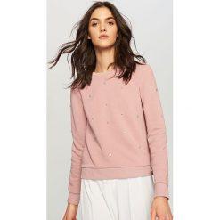 Bluzy damskie: Bluza z błyszczącymi dżetami – Różowy