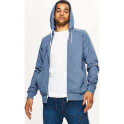 Gładka bluza z kapturem BASIC - Niebieski. Niebieskie bluzy męskie rozpinane marki Cropp, l, z kapturem. Za 89,99 zł.