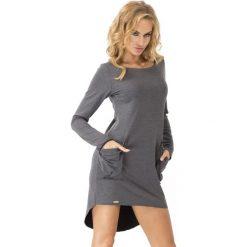 Grafitowa Dresowa Asymetryczna Sukienka z dużymi kieszeniami. Szare długie sukienki marki bonprix, melanż, z dresówki, z kapturem, z długim rękawem. Za 83,90 zł.