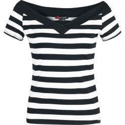Bluzki damskie: Hell Bunny Caitlin Top Koszulka damska czarny/biały