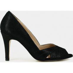 Buty ślubne damskie: Czółenka z odkrytymi palcami, na wysokim obcasie, z opalizującej skóry, Acide