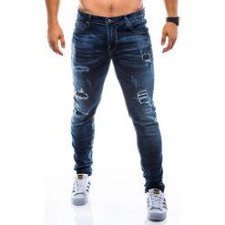 SPODNIE MĘSKIE JEANSY P783 - GRANATOWE. Czarne jeansy męskie marki Ombre Clothing, m, z bawełny, z kapturem. Za 89,00 zł.