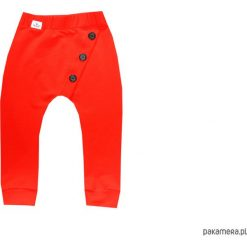 Spodnie czerwone z guzikami 68-134 / BUGZY. Szare spodnie dresowe dziewczęce marki bonprix, melanż, z dresówki. Za 69,00 zł.