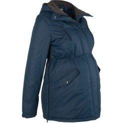 Kurtka ciążowa zimowa bonprix ciemnoniebieski. Niebieskie kurtki ciążowe marki bonprix, z materiału, z dekoltem w serek. Za 269,99 zł.