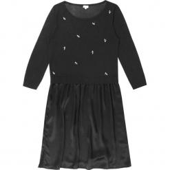 Sukienka jedwabna w kolorze czarnym. Czarne sukienki na komunię Ateliers de la Maille, na imprezę, z aplikacjami, z jedwabiu, z okrągłym kołnierzem, midi. W wyprzedaży za 454,95 zł.