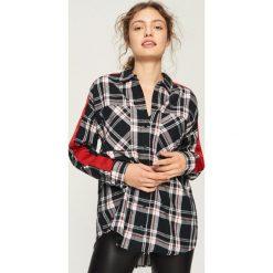 Koszula z lampasami - Czarny. Czarne koszule damskie Sinsay, l. W wyprzedaży za 39,99 zł.
