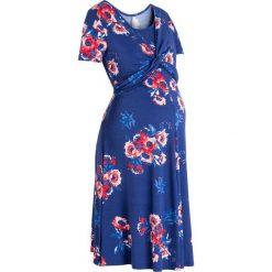 Sukienki ciążowe: Sukienka shirtowa ciążowa i do karmienia bonprix kobaltowy z nadrukiem
