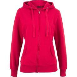 Bluza rozpinana bonprix czerwony. Czerwone bluzy rozpinane damskie bonprix, w paski, z kapturem. Za 59,99 zł.
