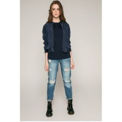 Tommy Jeans - Top. Szare topy damskie marki Tommy Jeans, l, z bawełny, z okrągłym kołnierzem. W wyprzedaży za 129,90 zł.