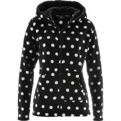 Bluzy polarowe: Bluza z polaru z kapturem bonprix czarno-biel wełny w kropki
