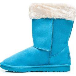 Buty zimowe damskie: Mukluki śniegowce ciepłe za kostkę Niebieskie