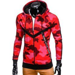 BLUZA MĘSKA ROZPINANA Z KAPTUREM B775 - CZERWONA/MORO. Czerwone bluzy męskie rozpinane marki Ombre Clothing, m, moro, z bawełny, z kapturem. Za 69,00 zł.