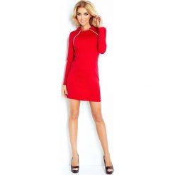 Czerwona Sukienka Ołówkowa z Kołnierzykiem i Ozdobnymi Suwakami. Czerwone sukienki na komunię marki Mohito, l, z weluru. Za 159,90 zł.