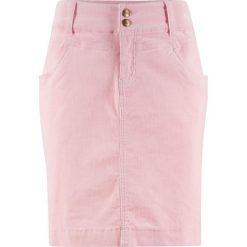 Spódnica sztruksowa bonprix pastelowy jasnoróżowy. Niebieskie spódniczki marki bonprix, z nadrukiem. Za 74,99 zł.