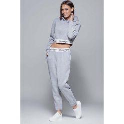 Bryczesy damskie: Szare Sportowe Dresowe Spodnie na Gumie