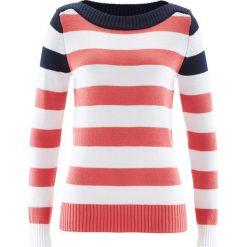 Swetry klasyczne damskie: Sweter z dekoltem w łódkę bonprix ciemnoniebiesko-koralowo-biały w paski