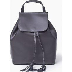Plecaki damskie: Szara Skórzana włoska torba plecak SUSANA