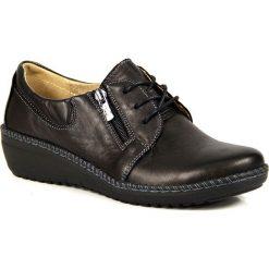Buty ślubne damskie: Skórzane półbuty na koturnie czarne Helios 328