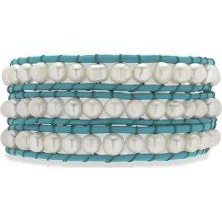Bransoletki damskie: Skórzana bransoletka w kolorze turkusowym z perłami słodkowodnymi
