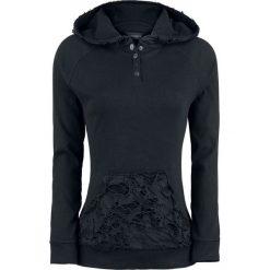 Bluzy rozpinane damskie: Gothicana by EMP Slashed Longsleeve Bluza z kapturem damska czarny