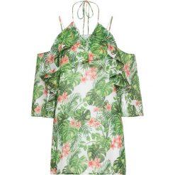 Bluzka bonprix zielono-biało-jasnoróżowy. Zielone bluzki asymetryczne bonprix, z nadrukiem. Za 37,99 zł.