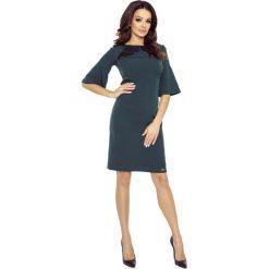 Sukienki: Ciemno Zielona Sukienka z Koronką z Kloszowanym Rękawem