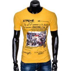 T-shirty męskie: T-SHIRT MĘSKI Z NADRUKIEM S997 - ŻÓŁTY