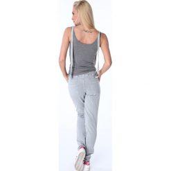 Spodnie dresowe damskie: Spodnie z paskami dresowe jasnoszare 1714