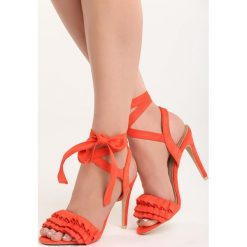 Pomarańczowe Sandały Researcher. Brązowe sandały damskie marki Born2be, z materiału, na wysokim obcasie, na obcasie. Za 59,99 zł.