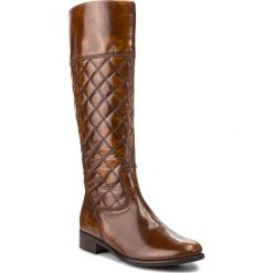 Oficerki GABOR - 71.636.74 Bark. Brązowe buty zimowe damskie marki Gabor, z materiału, na obcasie. W wyprzedaży za 489,00 zł.