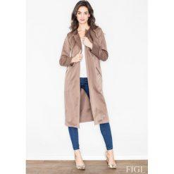 Płaszcze damskie pastelowe: Brązowy Płaszcz Typu Trencz bez Zapięcia z Wiązanym Paskiem
