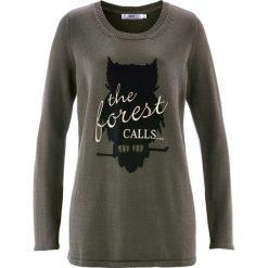 Swetry klasyczne damskie: Sweter z długim rękawem bonprix ciemnooliwkowy