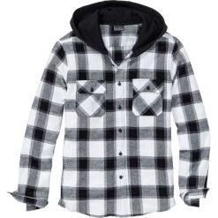 Koszule męskie: Koszula flanelowa z kapturem Slim Fit bonprix czarno-biały w kratę