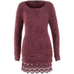 Swetry klasyczne damskie: Długi sweter z koronką, długi rękaw bonprix czerwony klonowy