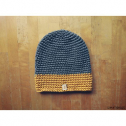 Czapka 65% wełna 35% alpaka #szary i żółty. Szare czapki zimowe damskie Pakamera, z wełny. Za 132,00 zł.