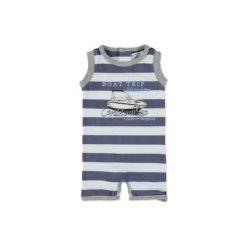 Dirkje  Boys Rampersy steel blue stripe - niebieski. Niebieskie pajacyki niemowlęce Dirkje, z bawełny. Za 39,00 zł.