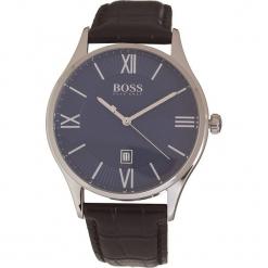 Zegarek kwarcowy w kolorze czarno-srebrno-granatowym. Czarne, analogowe zegarki męskie marki HUGO BOSS, ze stali. W wyprzedaży za 521,95 zł.