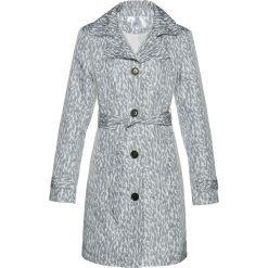 Płaszcze damskie pastelowe: Płaszcz trencz bonprix biało-szary z nadrukiem
