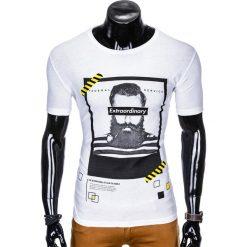 T-SHIRT MĘSKI Z NADRUKIEM S994 - BIAŁY. Białe t-shirty męskie z nadrukiem Ombre Clothing, m. Za 29,00 zł.