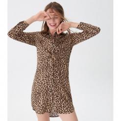 Koszulowa sukienka w panterkę - Czarny. Czarne sukienki marki House, l, w kwiaty. Za 119,99 zł.