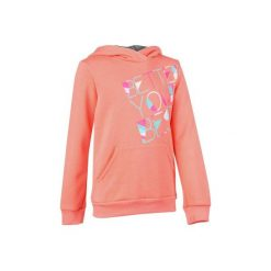 Bluza 500 Gym. Brązowe bluzy dziewczęce rozpinane DOMYOS, z kapturem. W wyprzedaży za 24,99 zł.