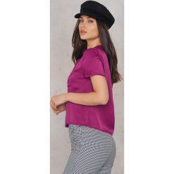 Koszule body: NA-KD Satynowa koszula z krótkim rękawem - Purple