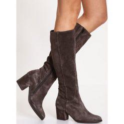 Gabor WIDE FIT Kozaki dark grey. Szare buty zimowe damskie marki Gabor, z materiału. W wyprzedaży za 663,20 zł.
