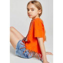 Mango Kids - Top dziecięcy Teen 110-164 cm. Szare bluzki dziewczęce bawełniane Mango Kids, z nadrukiem, z okrągłym kołnierzem. W wyprzedaży za 29,90 zł.