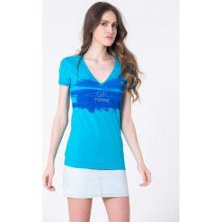 T-shirty damskie: T-shirt w kolorze niebieskim