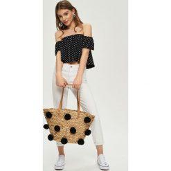 Topy damskie: Crop top z odkrytymi ramionami - Czarny